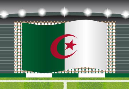 football fan: Algeria football fan cheering on stadium with flag