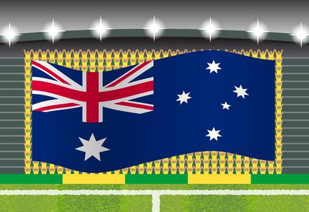 football fan: Australia football fan cheering on stadium with flag