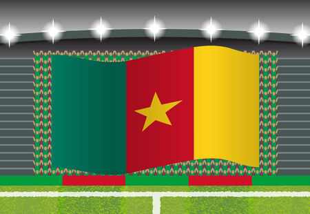 football fan: Cameroon football fan cheering on stadium with flag Illustration