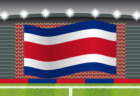 football fan: Costa Rica football fan cheering on stadium with flag