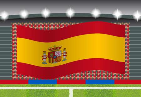 football fan: Spain football fan cheering on stadium with flag