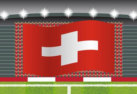 football fan: Switzerland football fan cheering on stadium with flag