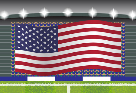 football fan: USA football fan cheering on stadium with flag Illustration