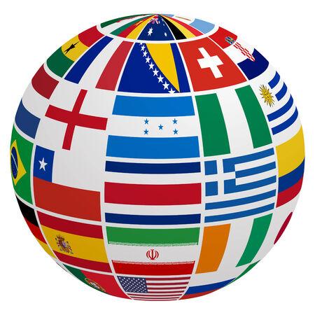 algeria: Globe of soccer team flag