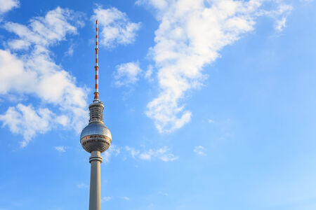 Fernsehturm or Berlin TV tower with sky copy space