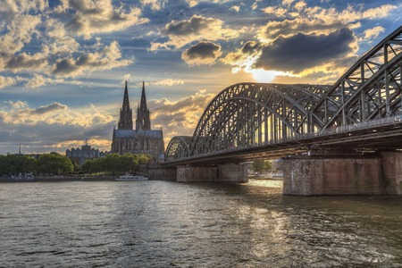 sunset at Cologne city of Germany