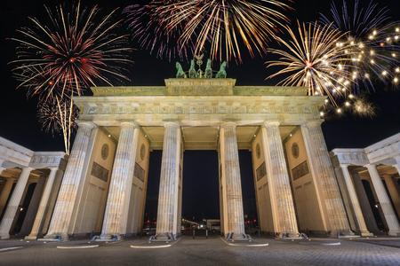 brandenburg: Fireworks Celebration at Berlin Brandenburg Gate, Berlin, Germany