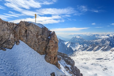 zugspitze mountain: winter landscape of Alpine Alps mountain at Zugspitze top of Germany