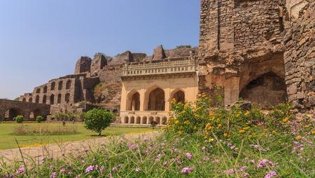 Historical architecture at Golkonda Fort, Hyderabad, India Editorial