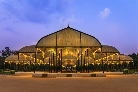 light house: night scene of Lalbagh park in Bangalore City, India