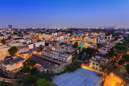 city living: Bangalore City skyline, India