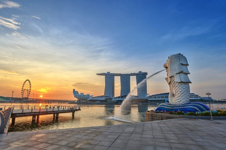sunrise at Singapore City Skyline view at Marina Bay