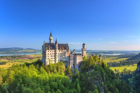 neuschwanstein: summer morning at Neuschwanstein Castle, Fussen, Bavaria, Germany