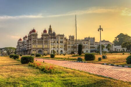 mysore: sunset at Mysore Palace and flower garden, Mysore India Editorial