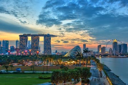 マリーナ ・ ベイ、シンガポール市スカイライン ビュー 写真素材