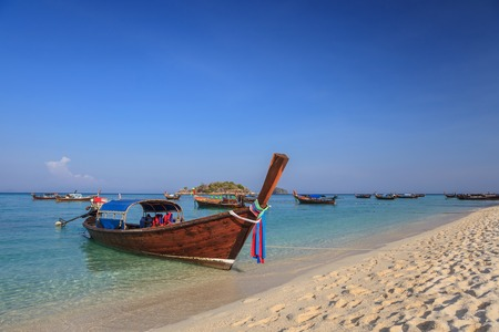 longtail: Longtail boat and beautiful ocean of Koh Lipe island, Thailand Stock Photo