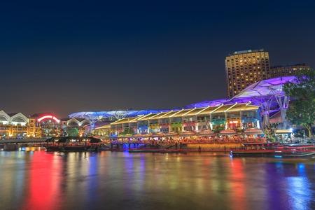 night time at Singapore Clarke Quay Stock Photo
