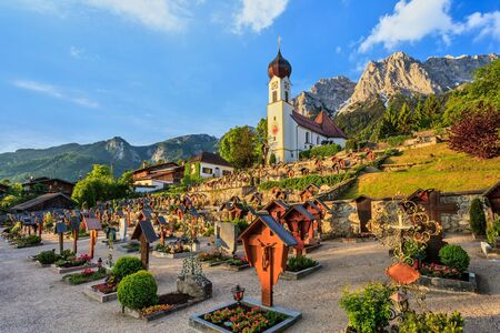 Landscape at Grainau village and Zugspitze top of Germany photo