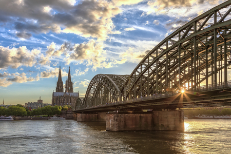 sunset at Cologne city of Germany photo