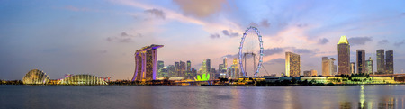 Panorama view of Singapore city skyline at Marina Bay