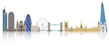 tower of london: Illustration of London city skyline, England Illustration