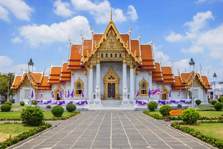 buddhist temple: The Marble Temple or Wat Benchamabophit at Bangkok Thailand