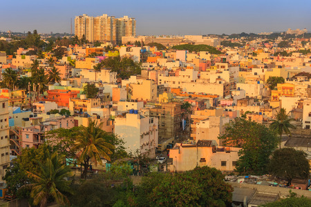 resident: Aerial view of resident building in Bangalore city during golden hour sunset India