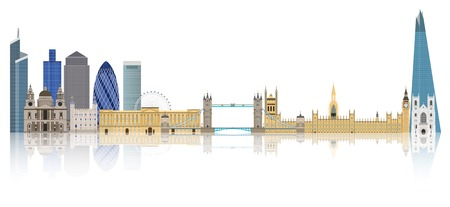 London city skyline vector illustration  England Çizim
