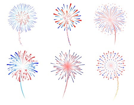 Fireworks celebration vector illustration Çizim
