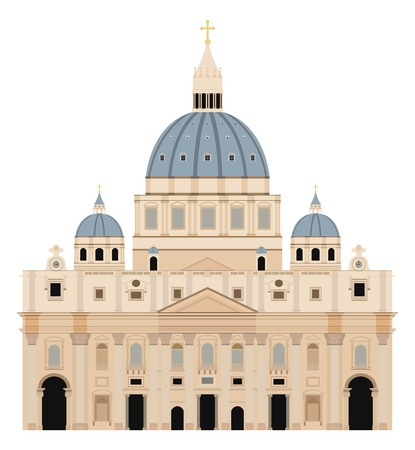 Saint Peter Basilica vector illustration - Vatican - Rome - Italy
