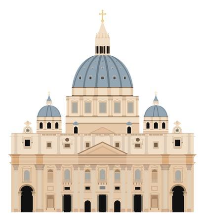 Saint Peter Basilica vector illustration - Vatican - Rome - Italy