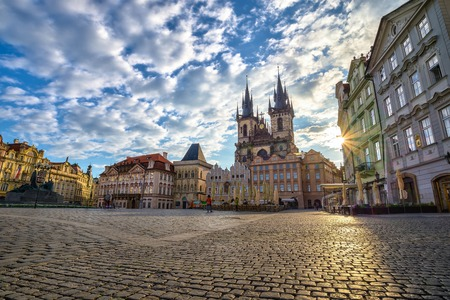 praha: Old town square in the morning - Prague - Czech Stock Photo