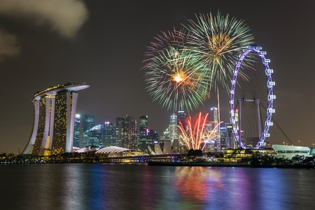 singapore city: Singapore national day fireworks celebration