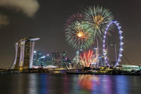 singapore skyline: Singapore national day fireworks celebration