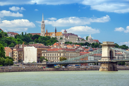 halaszbastya: Budapest city skyline and Danube river - Hungary