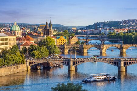 praha: Prague city skyline and Charles Bridge - Prague - Czech Republic Stock Photo