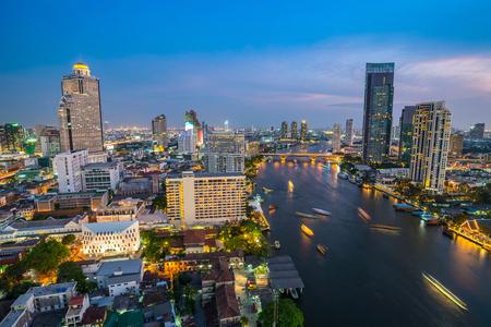 phraya: Bangkok city skyline and Chao Phraya river - Thailand