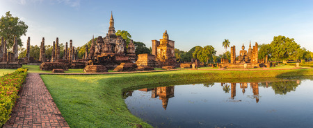 temple: panorama of Sukothai Historical Park - Thailand Stock Photo