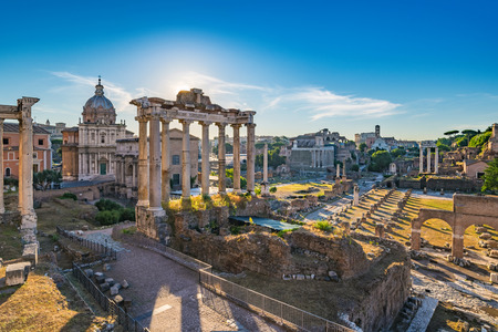 Sunrise at Roman Forum and Colosseum - Rome - Italy Stock Photo