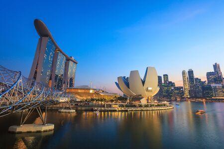 marina bay: Singapore city skyline view at Marina Bay