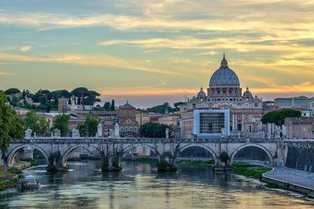 basilica: Sunset at Rome with Saint Peters Basilica , Rome , Italy