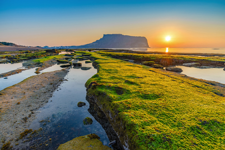 Sunrise at Seongsan Ilchulbong, Jeju, South Korea Stock Photo