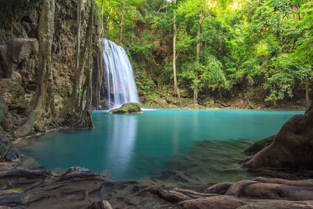 erawan: Erawan waterfall, Kanchanaburi, Thailand Stock Photo