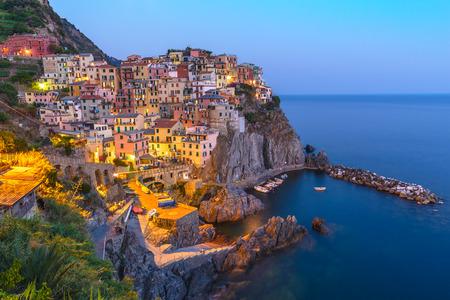 cinque: Manarola village at night, Cinque Terre, Italy Stock Photo