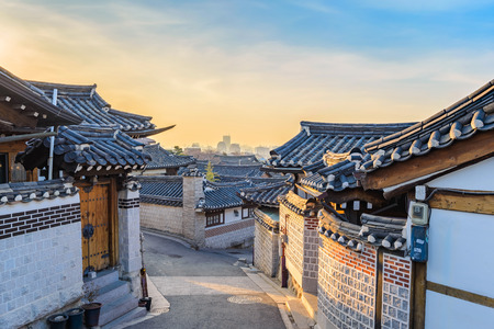 Bukchon Hanok Village, Seoul, Corea del Sud Archivio Fotografico