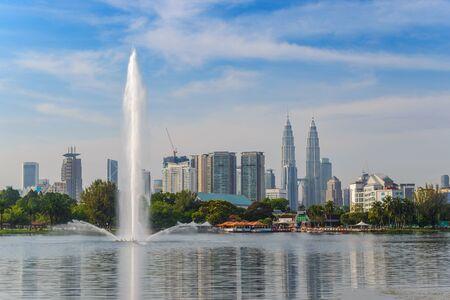 city park skyline: Kuala Lumpur city skyline at at Titiwangsa park, Malaysia Editorial