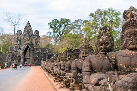 thom: South gate of Angkor Thom, Siem Reap, Cambodia Stock Photo