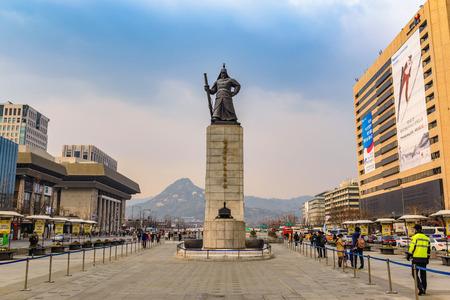 SEOUL, KOREA: MARCH 26,2016: Gwanghwamun Plaza with the statue of the Admiral Yi Sun-sin in Seoul, South Korea