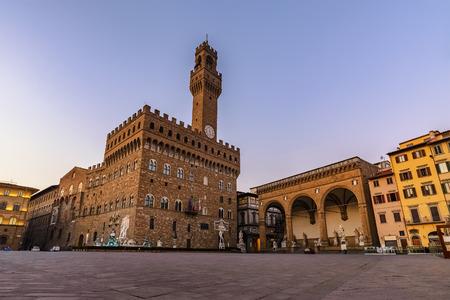 Signoria square before sunrise, Florence, Italy