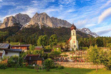 Grainau village and Zugspitze top of Germany, Garmisc Partenkirchen, Germany